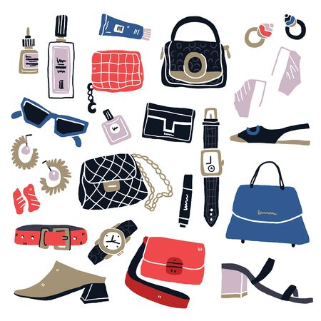 Set of fashion accessories. Hand drawn woman items and accessories. Collection of bags, shoes, high heels, sun glasses, earrings, watch and cosmetics on white background. Vector illustration. - Vector