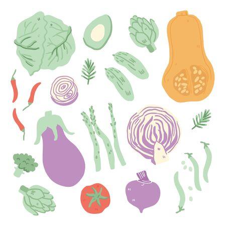 Hand drawn doodle vegetables isolated on white. Vector texture. Flat icons: peas, cucumber, broccoli, avocado, cauliflower, asparagus, pumpkin, tomato. Vegetarian healthy food. Vegan, farm -Vector
