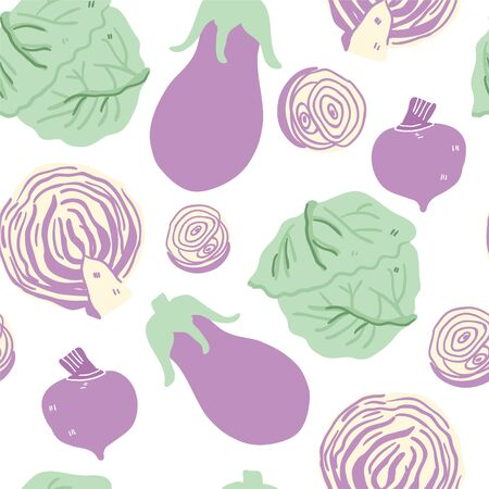 Seamless pattern with hand drawn doodle green and violet vegetables. Vector texture. Flat icons: cauliflower, onion, aubergine, beet root, Chinese cabbage. Vegetarian healthy food. Vegan, farm - Vector Ilustração