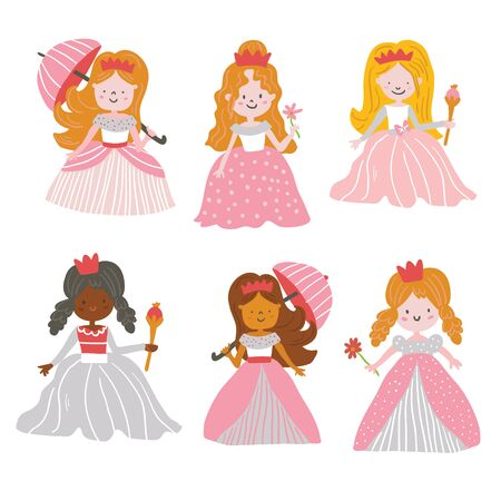 Big Bundle cute collection of beautiful princesses isolated on white. Cute hand drawn cute little princesses in beautiful dresses with crowns. - Vector