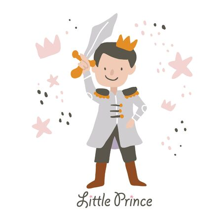 Vector hand drawn cute prince holding the sword with little prince lettering. Vector cute little boy. Prince vector illustration - Vector  イラスト・ベクター素材