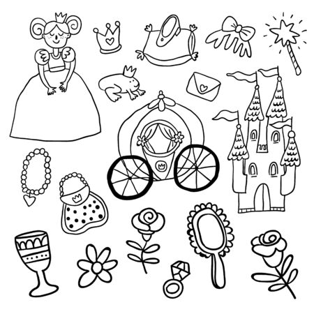 Vector outline doodle set of beautiful princess, castle, carriage, frog, crown, magic wand, shoes, mirror and accessories perfect for coloring. Vector princess. Princess vector illustration - Vector