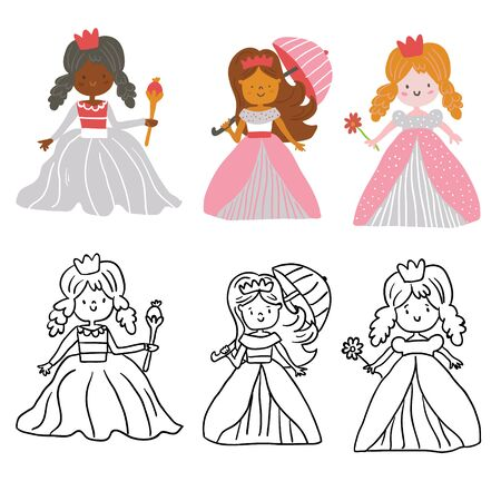 Big Bundle cute collection of beautiful princesses  colored and black and white outline. Cute hand drawn cute little princesses in beautiful dresses with crowns, perfect for coloring book. - Vector Ilustracja
