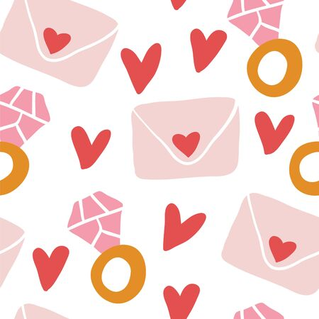 Cute romantic seamless pattern. Repeated hearts with diamond rings, love letters. Drawn by hand. Endless girlish print. Girly vector illustration. - Vector - Vector Standard-Bild - 129338136
