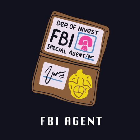 Special services agent identity of FBI agent id. Perfect space theme illustration for kids tshirt and fabric design.