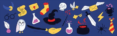 Different elements for witches at school of magic in doodle style on dark background - owl, magic wand, potion, flying letter, witch hat, round glasses, flash, flying broom. Vector illustration Illusztráció
