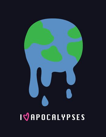 Global warming, Graphic illustration of a melting earth with slogan sign. - Vector Illusztráció
