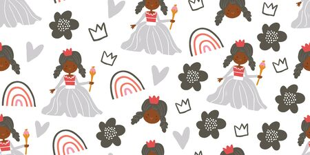 Childish girl seamless pattern with princess, rainbows, flowers in scandinavian style. Creative vector childish background for fabric, textile. Scandinavian design. Kids pattern. - Vector