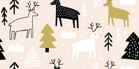 Childish seamless pattern with deers and pines. Trendy scandinavian holiday vector background. Perfect for kids apparel, fabric, textile, nursery decoration, wrapping paper. Kids pattern - Vector Reklamní fotografie - 130709999