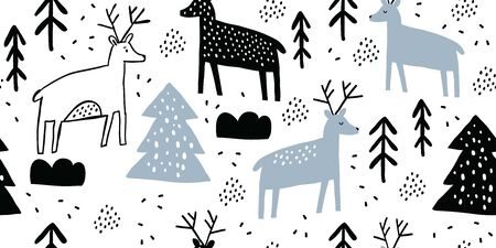 Childish seamless pattern with deers and pines. Trendy scandinavian holiday black and white vector background. Perfect for kids apparel, fabric, textile, nursery decoration. Kids pattern - Vector