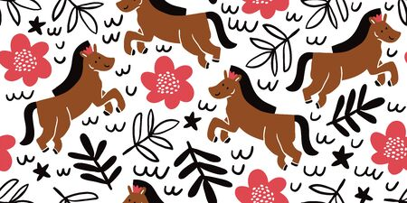 Childish seamless princess girly pattern with horses and flowers in scandinavian style. Creative vector childish background for fabric, textile. Scandinavian design. Kids pattern. - Vector