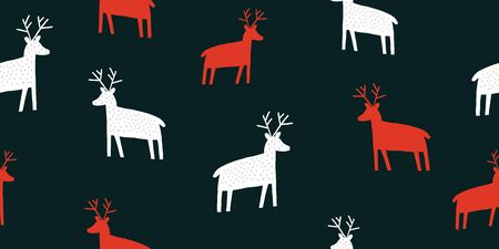 Childish seamless pattern with deers silhouette . Trendy scandinavian holiday vector background. Perfect for kids apparel, fabric, textile, nursery decoration, wrapping paper. Kids pattern - Vector