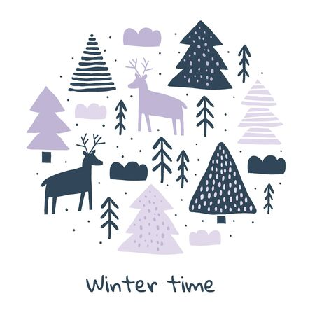 Circle illustration with deers silhouette, pines, snow. Trendy scandinavian christmas holiday vector background. Perfect for kids apparel, fabric, textile, wrapping paper. Kids pattern - Vector Ilustrace