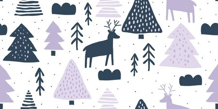 Childish seamless pattern with deers and pines. Trendy scandinavian holiday vector background. Perfect for kids apparel, fabric, textile, nursery decoration, wrapping paper. Kids pattern - Vector Ilustrace