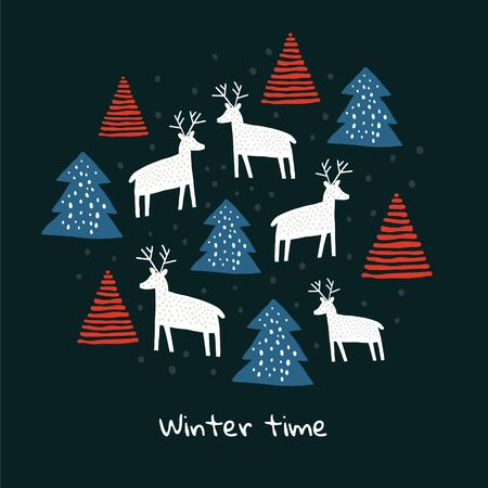 Circle illustration with deers silhouette, pine trees, snow. Trendy scandinavian christmas holiday vector background. Perfect for kids apparel, fabric, textile, wrapping paper. Kids pattern - Vector Reklamní fotografie - 130710050