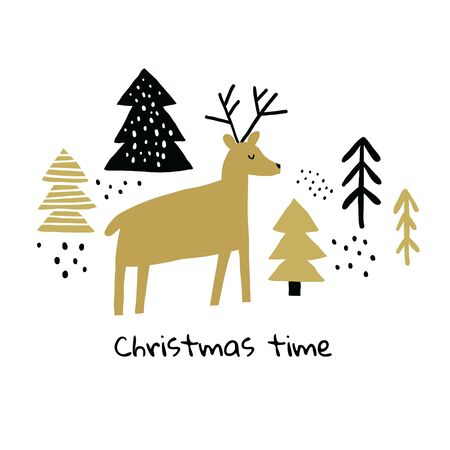Circle illustration with deer, pines, snow with christmas time words. Trendy scandinavian holiday vector background. Perfect for kids apparel, fabric, textile, wrapping paper. Kids pattern - Vector Reklamní fotografie - 130710058