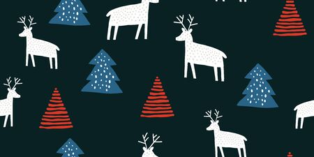 Childish seamless pattern with deers and pines. Trendy scandinavian holiday vector black background. Perfect for kids apparel, fabric, textile, nursery decoration, wrapping paper. Kids pattern- Vector Reklamní fotografie - 130710061
