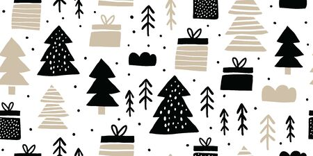 Childish seamless pattern with gift boxes and pines. Trendy scandinavian holiday vector background. Perfect for kids apparel, fabric, textile, nursery decoration, wrapping paper. Kids pattern - Vector Reklamní fotografie - 130710062