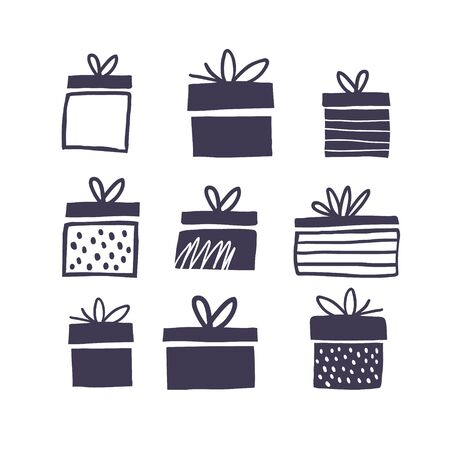 Black and white illustration with gift boxes. Trendy scandinavian minimalistic holiday vector background. Perfect for apparel, fabric, textile, wrapping paper, birthday. Kids illustration