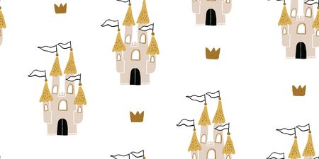 Hand drawn childish seamless pattern with castle and crowns in scandinavian style. Pastel colors. Creative vector childish background for fabric, textile for kids and girls. Kids pattern