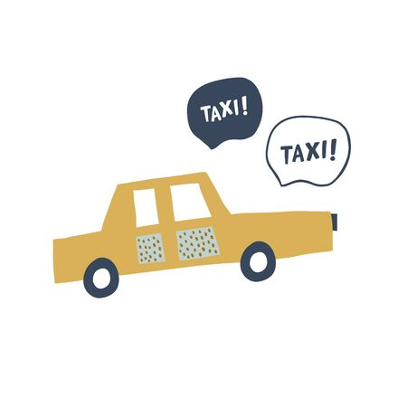 Hand drawn new york taxi illustration in scandinavian style isolated on white. Perfect for t-shirt print design and textile. Minimalistic kids car with taxi sign. - Vector