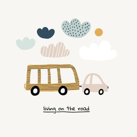 Vektor bunte Cartoon-Poster. Wohnen auf der Straße. Retro-Reisebus im skandinavischen handgezeichneten Stil mit Wolken und Sonne in der Wüste. Perfekt für Druckdesign, T-Shirt, Postkarte für Kinder