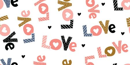 Cute romantic seamless pattern. Repeated love hand lettering with hearts. Endless girlish print. Girly vector illustration. Çizim