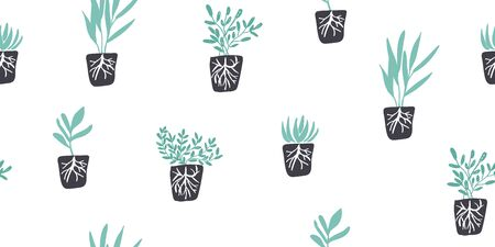 Simple minimalistic green garden plants with roots without pots. Happy gardening design. Minimalistic seamless pattern in scandinavian style. Organic gardening pattern Иллюстрация
