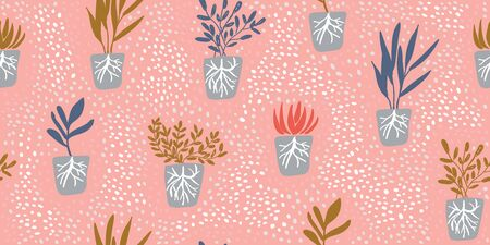 Simple minimalistic garden plants with roots without pots on pink background with polka dots. Happy gardening design. Minimalistic seamless pattern in scandinavian style. Organic gardening pattern