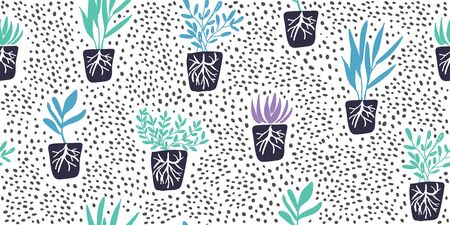 Simple minimalistic green garden plants with roots without pots and dolka dots. Happy gardening design. Minimalistic seamless pattern in scandinavian style. Organic gardening pattern Иллюстрация