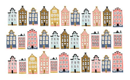 Decorative doodle houses collection. Stylised city. Street. Cottages. Scandinavian city landscape. Hand drawn minimalistic urban illustration in pastel colors. Amsterdam inspired houses.