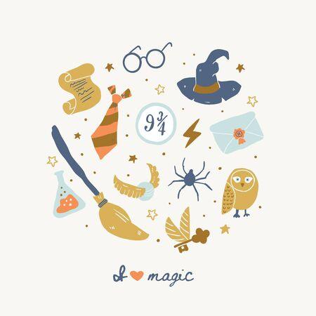 Verschiedene Elemente für Hexen in der Schule der magischen Kreisillustration mit Ich liebe magischen Schriftzug. Vektor-Illustration