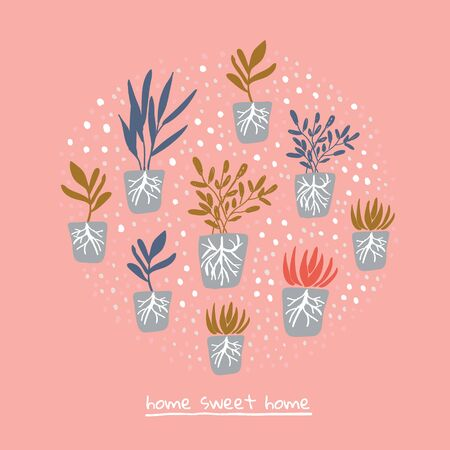 Simple minimalistic garden plants with roots without pots on pink background with home sweet home lettering. Happy gardening design. Scandinavian style illustration. Organic gardening pattern