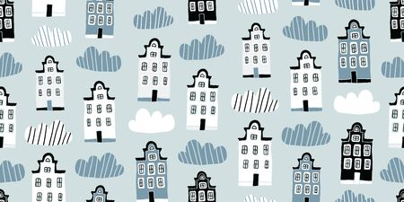 Seamless pattern with hand drawn colorful houses in scandinavian style. Perfect for fabric. textile, wallpaper. Scandinavian urban buildings background in pastel colors. Minimalistic Amsterdam pattern