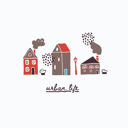 Vector illustration of urban houses and lettering. Traditional old buildings. Travel poster, postcards, greeting cards template. Hand drawn scandinavian style vector illustration. Çizim