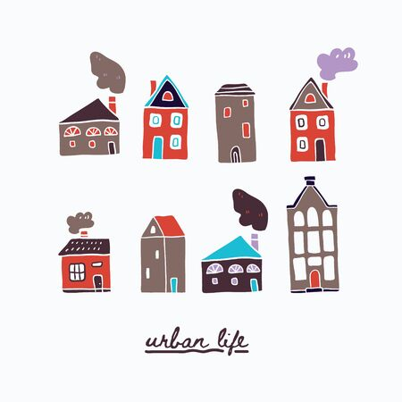 Vector illustration of urban houses and lettering. Traditional old buildings. Travel poster, postcards, greeting cards template. Hand drawn scandinavian style vector illustration. 向量圖像