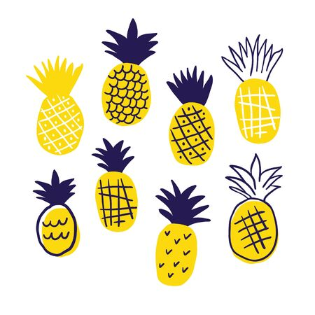 Colorful minimalistic abstract pineapples isolated on white. Stylish tropical doodle vector design. Tropical illustration in scandinavian style