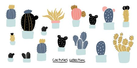 Set of home plants - cactuses, succulents in pots  in scandinavian style. Perfect for textile, wallpaper for kids. Scandinavian plants background in pastel colors Иллюстрация