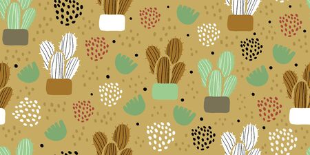 Seamless pattern with cactuses, succulents, leaves and polka dots in scandinavian style. Perfect for textile, wallpaper for kids. Scandinavian plants background in pastel colors Ilustracja