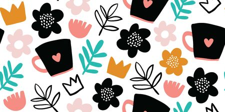 Seamless pattern with creative decorative flowers, herbs, crowns, cups in scandinavian style. Great for fabric, textile. Kids pattern. Scandinavian design. Vector background