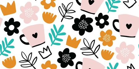 Seamless pattern with creative decorative flowers, herbs, crowns, cups in scandinavian style. Great for fabric, textile. Kids pattern. Scandinavian design. Vector background 版權商用圖片 - 134644415