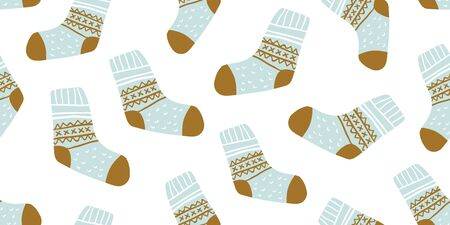 Autumn vector seamless pattern with cute colorful socks on white background. Funny doodle socks with different patterns. Cute winter and autumn holidays hygge textile design in scandinavian style Çizim