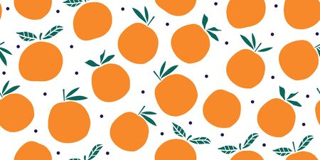 Stylish oranges fruits seamless pattern in hand drawn scandinavian style on white background. Summer design. Stylish kitchen citruses. Illustration