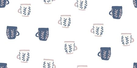Seamless pattern with blue cups of coffee illustrations on white background. Autumn and winter mood. Cosy home decorations isolated on white background. Scandinavian style