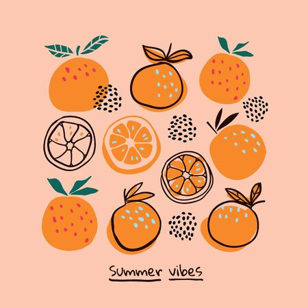 Stylish oranges fruits in hand drawn scandinavian style on light pink background with lettering. Summer tropical design. Stylish kitchen citruses.