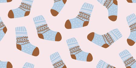 Autumn vector seamless pattern with cute colorful socks on pink background. Funny doodle socks with different patterns. Cute winter and autumn holidays hygge textile design in scandinavian style Illusztráció