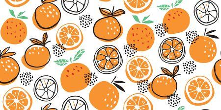 Stylish oranges fruits seamless pattern in hand drawn scandinavian style on white background. Summer design. Stylish kitchen citruses.