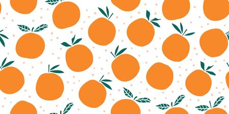 Stylish oranges fruits seamless pattern in hand drawn scandinavian style on white background with polka dots. Summer vacation design. Stylish kitchen citruses.
