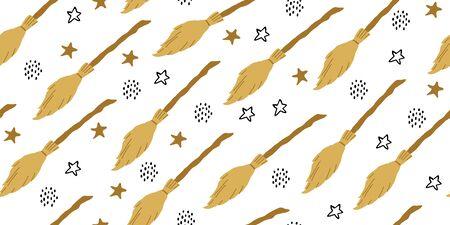 Nahtloses Muster der Hexe. Elemente für Hexen in der Zauberschule im Doodle-Stil auf dunklem Hintergrund - fliegender Besen, Sterne, Tupfen. Minimalistisches Halloween-Muster auf weißem Hintergrund Vektorgrafik