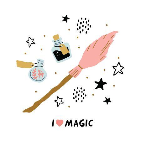 Diferentes elementos para brujas en la escuela de la ilustración del círculo mágico con I love magic lettering. Escoba, botellas con poción, estrellas, puntos. Ilustración vectorial